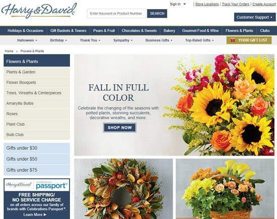 Harry & David order flowers online